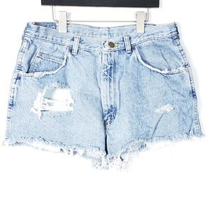 Wrangler High Waisted Cut Off Distressed Shorts